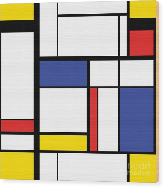 Abstract Modern Painting In Mondrian Wood Print