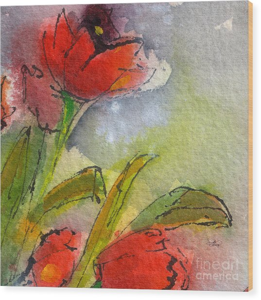Abstract Modern Red Tulips Watercolor Wood Print
