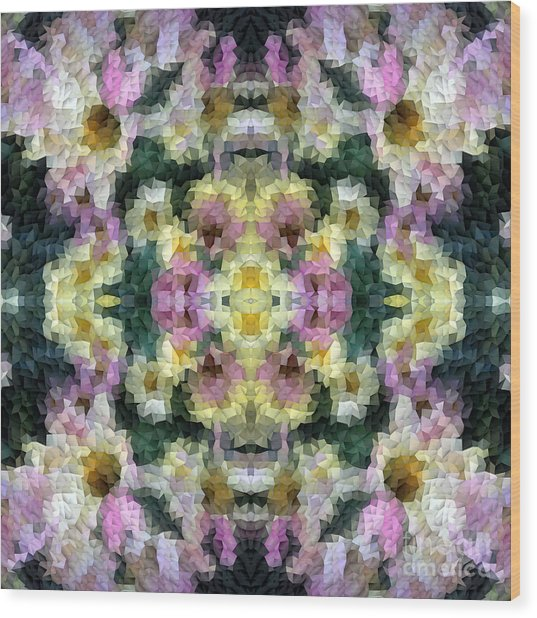 Abstract Mosaic In Yellow Pink Green Wood Print