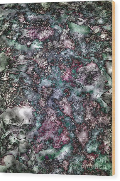 Abstract Mountain Creek Wood Print by Angela Bruno