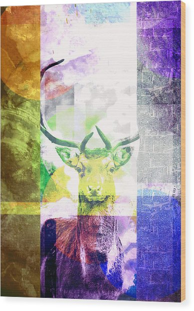 Abstract Nature Deer Portrait Wood Print