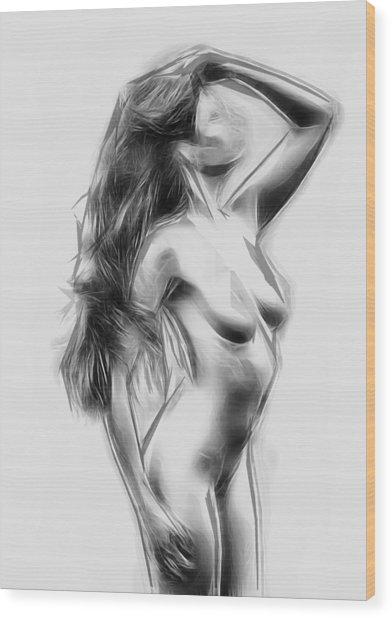 Abstract Nude 3 Wood Print