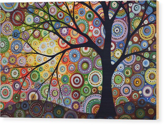 Abstract Original Modern Tree Landscape Visons Of Night By Amy Giacomelli Wood Print