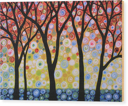 Abstract Original Modern Trees Landscape Print Painting ... Joyous Sky Wood Print