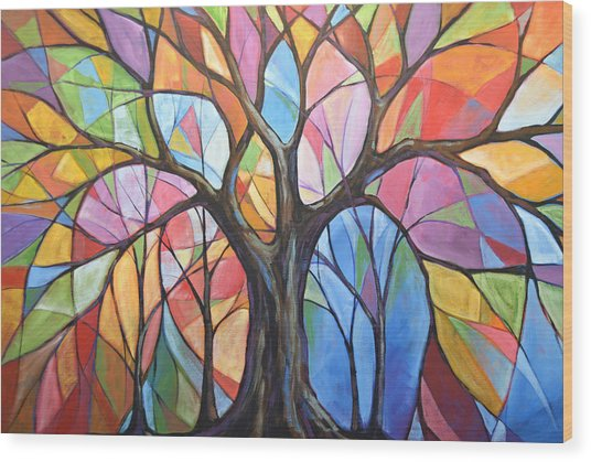 Abstract Original Tree Art Painting ... Colors Of The Wind Wood Print