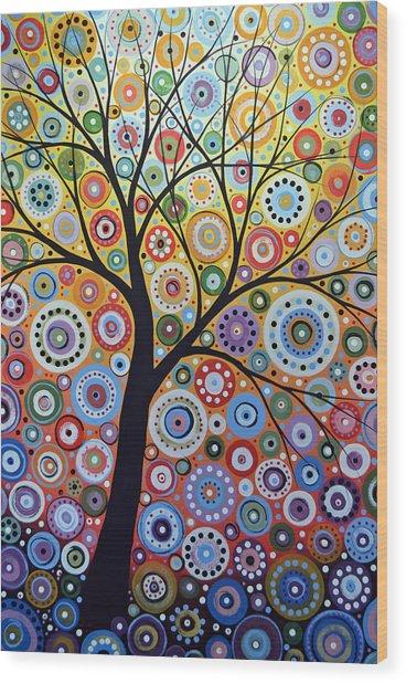 Abstract Original Tree Art Painting ... Sun Arising Wood Print