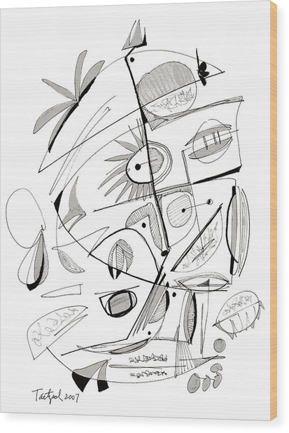 Abstract Pen Drawing Sixty-seven Wood Print