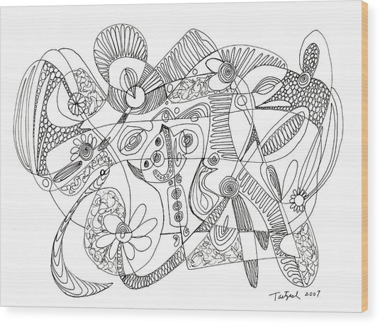 Abstract Pen Drawing Thirty-eight Wood Print
