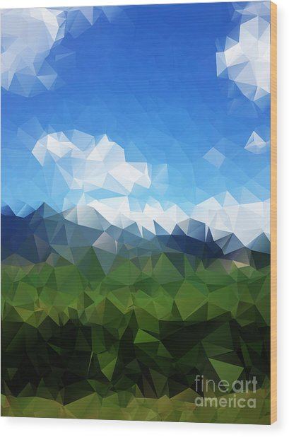 Abstract Polygonal Landscape Background Wood Print