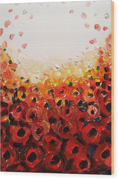 Abstract Poppies 2 Wood Print