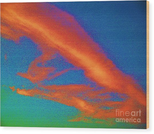 Abstract Red Blue And Green Sky Wood Print
