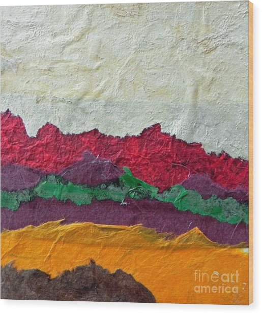 Abstract Red Hills Wood Print