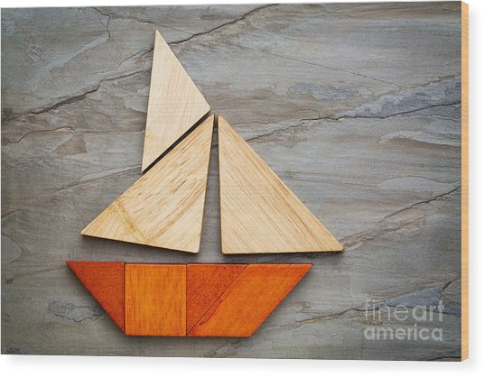 Abstract Sailboat From Tangram Puzzle Wood Print