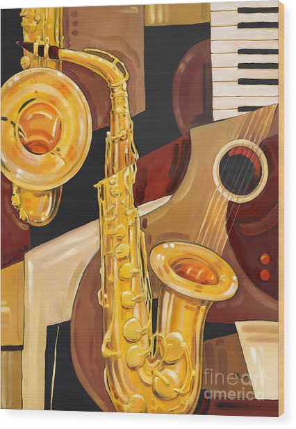Abstract Saxophone Wood Print by Paul Brent