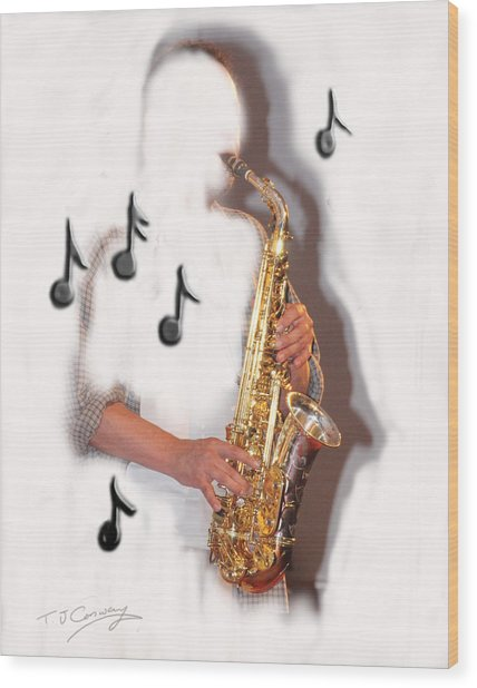 Abstract Saxophone Player Wood Print
