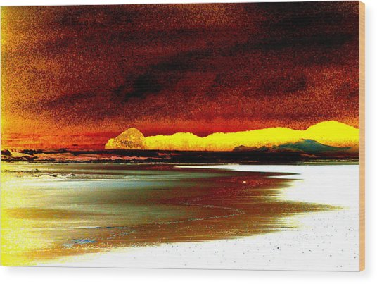 Abstract Seascape Wood Print by Mamie Gunning