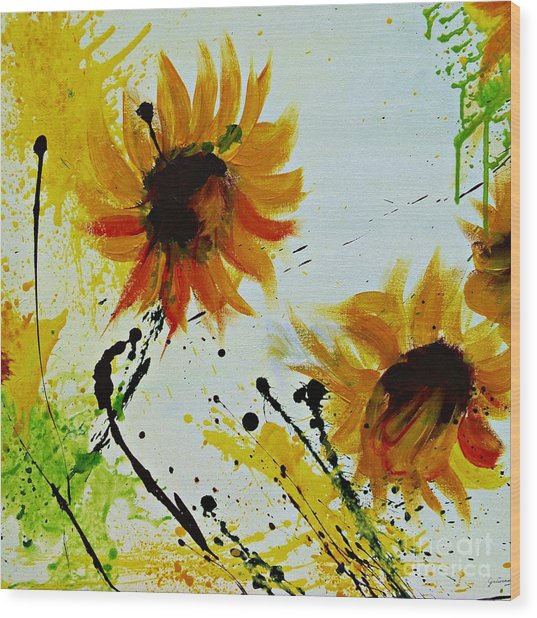 Abstract Sunflowers 2 Wood Print