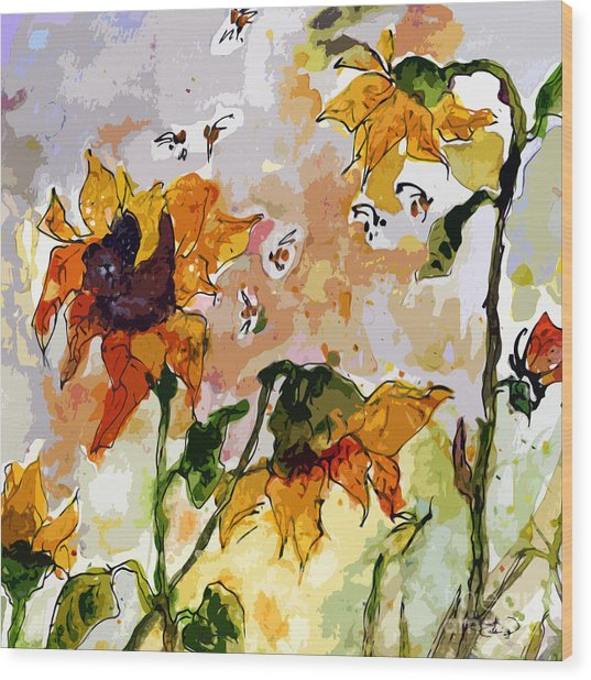 Abstract Sunflowers And Bees Provence Wood Print