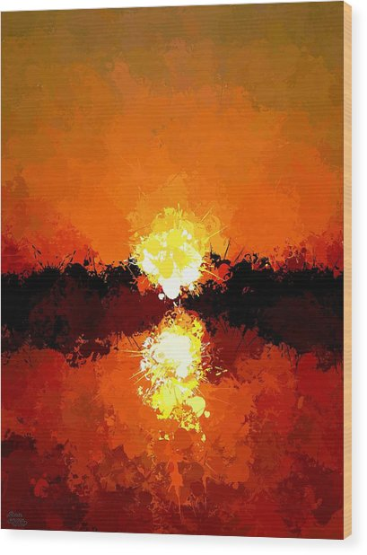 Abstract Sunset On The Sea Wood Print