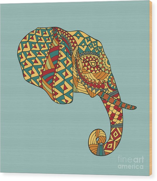 Abstract Vector Image Of An Elephants Wood Print