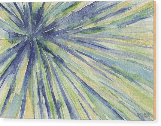 Abstract Watercolor Painting - Blue Yellow Green Starburst Pat Wood Print