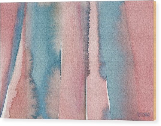 Abstract Watercolor Painting - Coral And Teal Blue Wide Stripes Wood Print