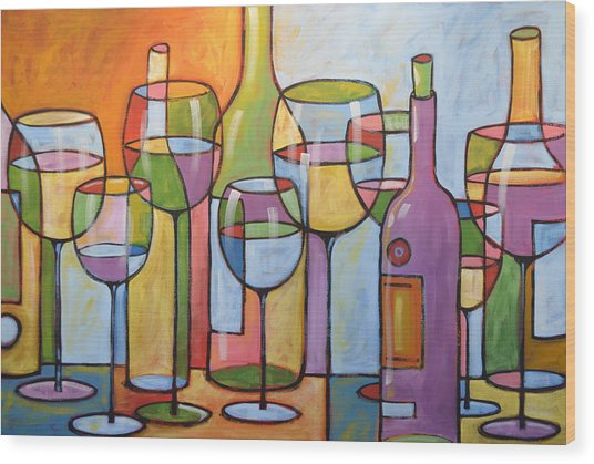 Abstract Wine Dining Room Bar Kitchen Art ... Time To Relax Wood Print