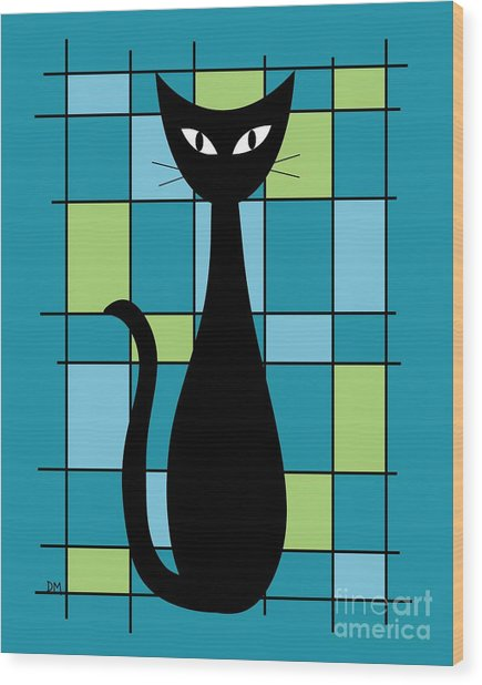 Abstract With Cat In Teal Wood Print