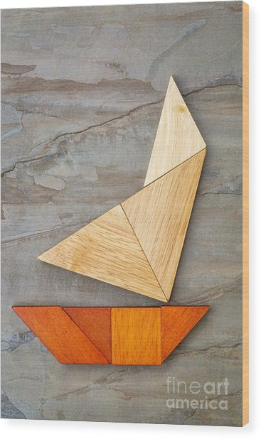 Abstract Yacht From Tangram Puzzle Wood Print