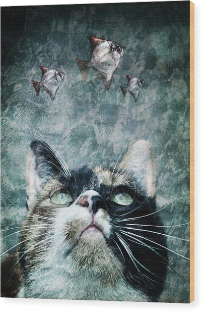 Abyss Cat Nr 2 Wood Print