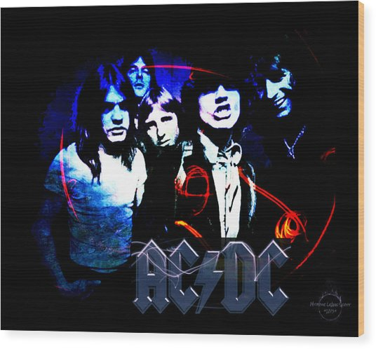 Ac/dc - Rock Wood Print