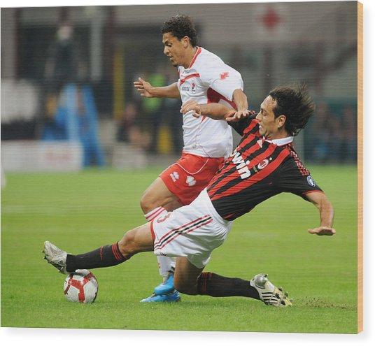Ac Milan V As Bari - Serie A Wood Print by Massimo Cebrelli