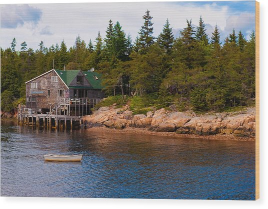 Acadia Fishing Village Wood Print
