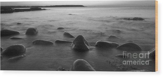 Acadia National Park Shoreline Sunrise Wakeup Black And White Wood Print