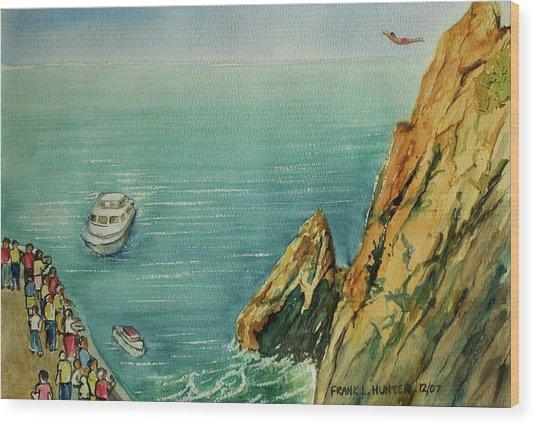 Acapulco Cliff Diver Wood Print