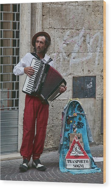 Accordian Player Wood Print
