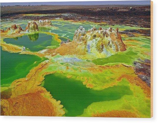 Acid Lakes Of Dallol Volcano Wood Print by Liudmila Di