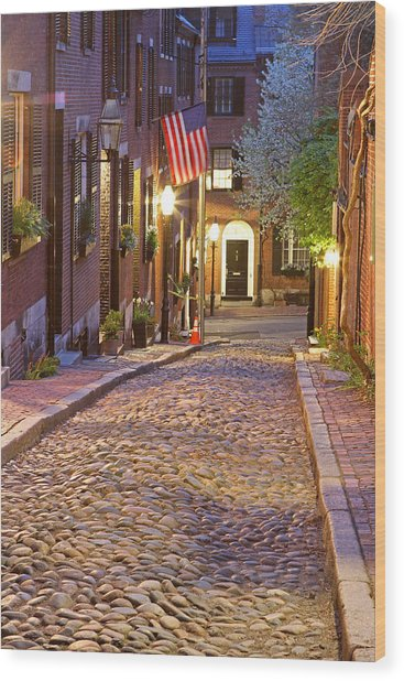 Acorn Street Of Beacon Hill Wood Print