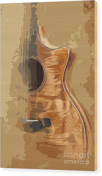 Acoustic Guitar Brown Background 1 Wood Print by Drawspots Illustrations
