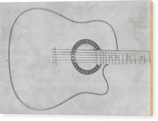 Acoustic Guitar On White Sketch Wood Print by Randy Steele