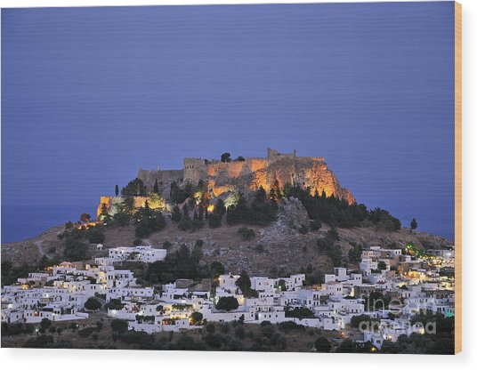 Acropolis And Village Of Lindos During Dusk Time Wood Print