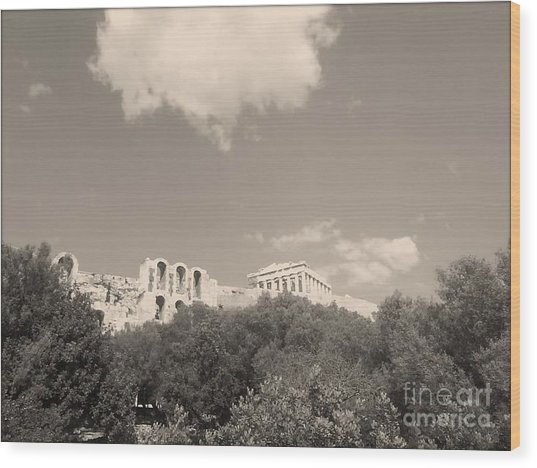 Acropolis In Black Wood Print by Katerina Kostaki