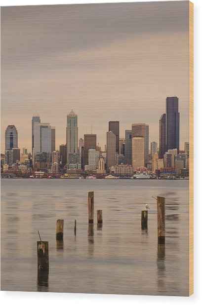 Across Elliott Bay Wood Print