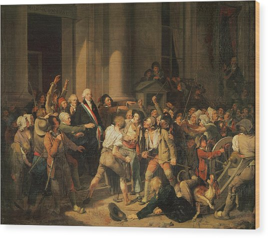 Act Of Courage Of Monsieur Defontenay, Mayor Of Rouen, 29th August 1792 Oil On Canvas Wood Print