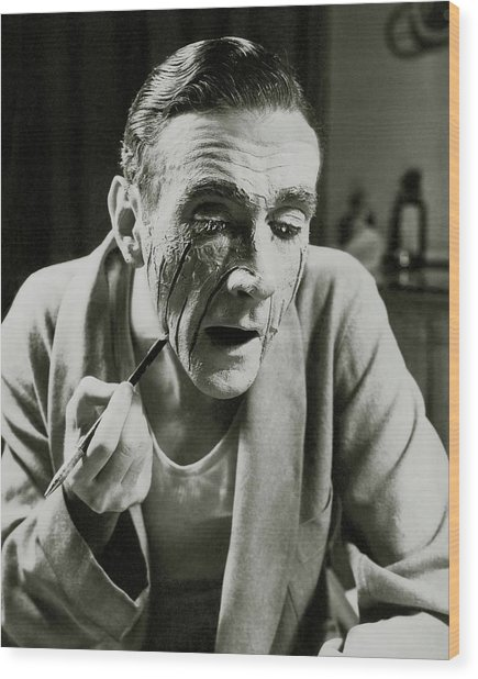 Actor Clifton Webb Applying Make-up Wood Print by Lusha Nelson