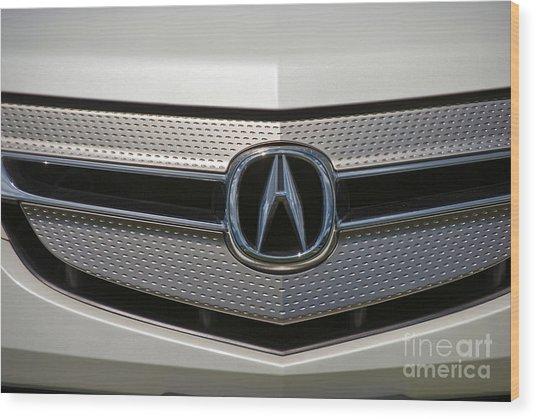 Acura Grill Emblem Close Up Wood Print