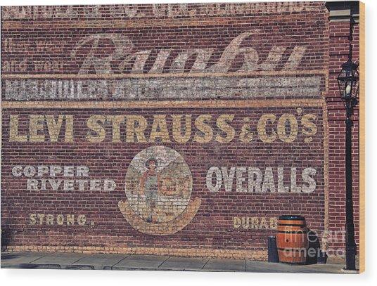 Ad On Brick Wood Print