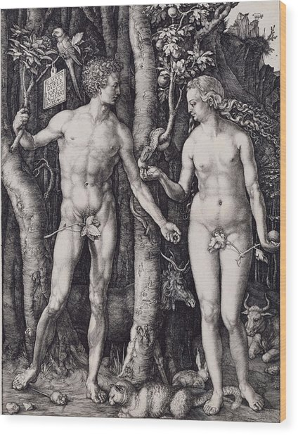 Adam And Eve Engraving Wood Print by Albrecht Durer