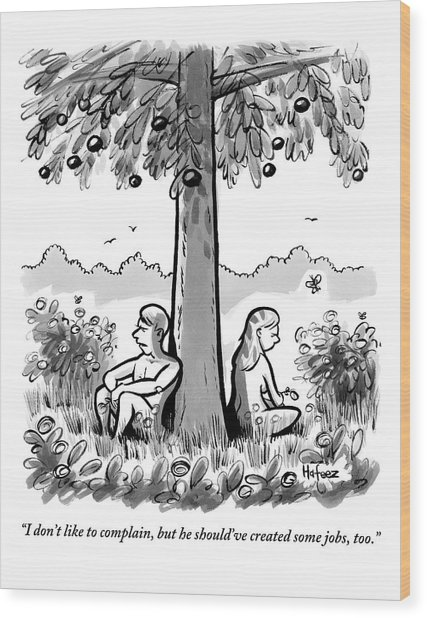 Adam And Eve Sit Back To Back Against A Tree Wood Print