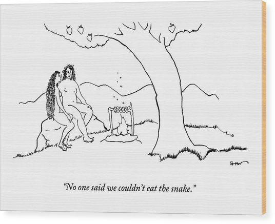 Adam And Eve Sit Under The Forbidden Tree Wood Print